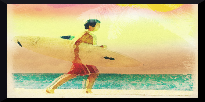 image of surfer on beach