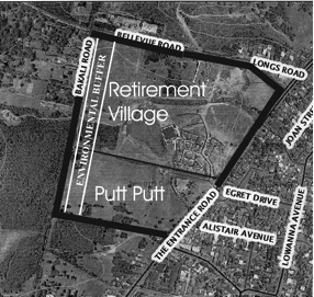 Image shows where the environmental buffer along Forresters Creek should be.