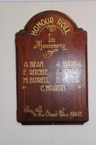 Timber Honour Roll in the Wamberal Memorial Hall recording Alfred Bean as having fallen in the Great War 1914-1918