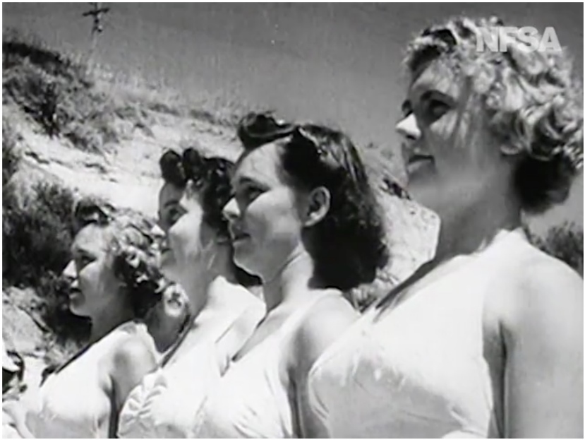 Muriel James and Nola Lawn at Terrigal Beach in 1944