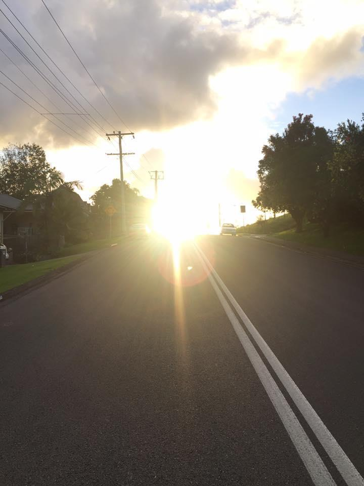 Old Gosford Road sun glare